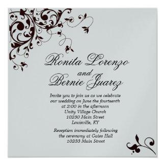 Elegant Black Swirl - Metallic paper 13 Cm X 13 Cm Square Invitation Card