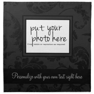 Elegant Black Velvet Style Floral Photo & Text Napkin