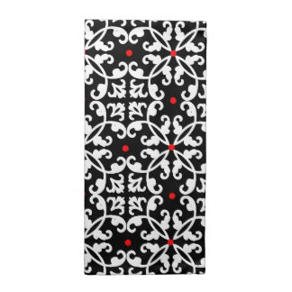 Elegant Black, White, and Red Damask Napkins