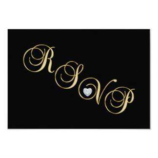 Elegant Black White Gold RSVP Wedding Anniversary Card