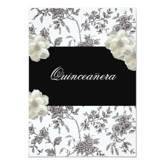 Elegant Black & White Quinceanera Invitation