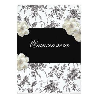 Elegant Black & White Quinceanera Invitation