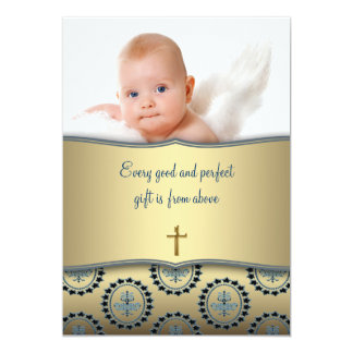 Elegant Blue and Gold Baby Boy Photo Christening 13 Cm X 18 Cm Invitation Card