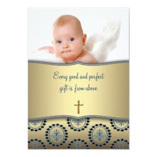 Elegant Blue and Gold Baby Boy Photo Christening Card