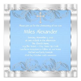 Elegant Blue and White Christening Card