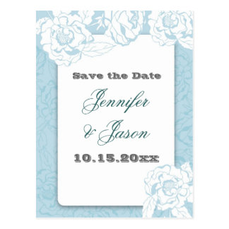 Elegant Blue and White Flowers Wedding Set Postcard