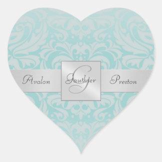 Elegant Blue Damask Heart Wedding Sticker