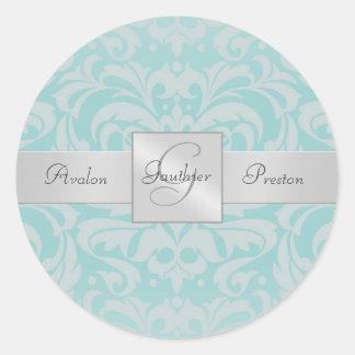 Elegant Blue Damask Monogram Wedding Sticker