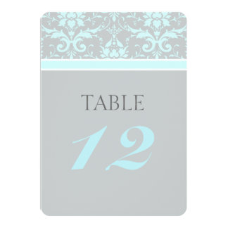 Elegant Blue Damask Wedding Table Numbers Card