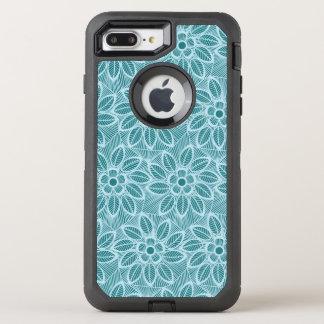 Elegant Blue Floral Lace Pattern OtterBox Defender iPhone 8 Plus/7 Plus Case