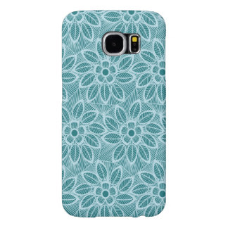 Elegant Blue Floral Lace Pattern Samsung Galaxy S6 Cases