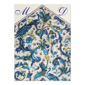 ELEGANT BLUE FLORAL WEDDING MONOGRAM CARD