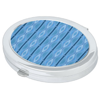 Elegant Blue Geometric with Stripe Mirror For Makeup