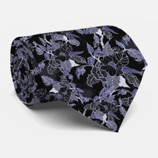 Elegant Blue & Grey Dark Floral Tie
