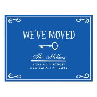 Elegant Blue Key Moving Announcement Postcard