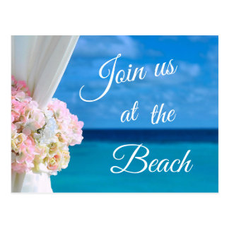 Elegant Blue Ocean Beach Summer Save the Date Postcard