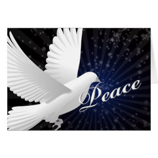 elegant blue peace dove Christmas Greetings Card