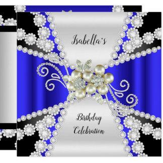 Elegant Blue Pearl Black White Diamond Birthday Card