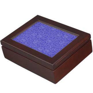 Elegant Blue Purple Floral Damask Arts and Crafts Keepsake Box