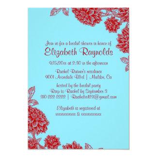 Elegant Blue & Red Bridal Shower Invitations Invitations