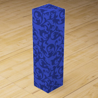 Elegant Blue Renaissance Damask Swirls Wine Gift Box