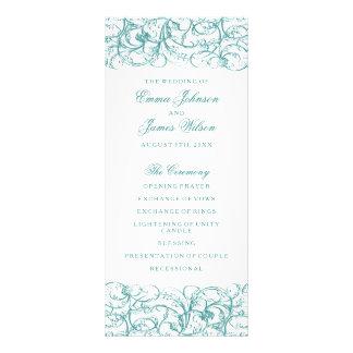 Elegant blue / turquoise swirls wedding program 10 cm x 23 cm rack card