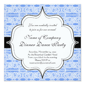 Elegant Blue Victorian Antique Lace 5.25x5.25 Square Paper Invitation Card