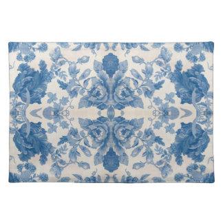 Elegant blue vintage floral placemat
