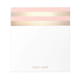 Elegant Blush Pink and Gold Stripes Name Notepad