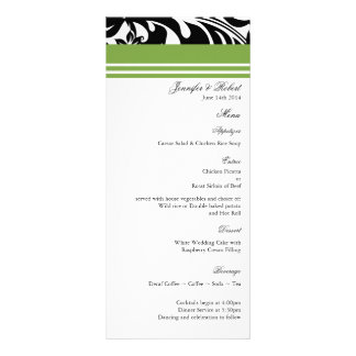Elegant Bold Floral Wedding Menu Card Customized Rack Card