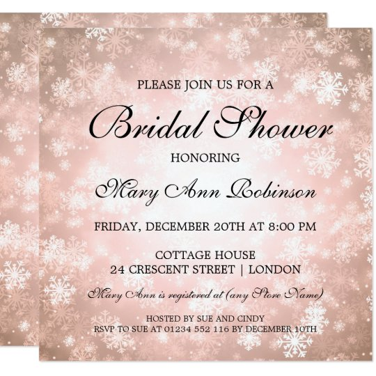 Elegant Bridal Shower Copper Winter Wonderland Card