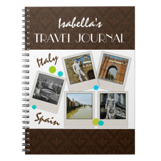 Elegant Brown Damask Travel Journal and Photos Spiral Note Book