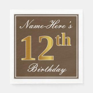 Elegant Brown, Faux Gold 12th Birthday + Name Paper Napkins
