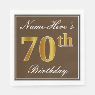 Elegant Brown, Faux Gold 70th Birthday + Name Disposable Napkins