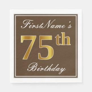 Elegant Brown, Faux Gold 75th Birthday + Name Disposable Serviette