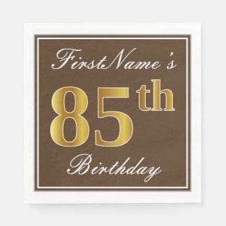Elegant Brown, Faux Gold 85th Birthday + Name Disposable Serviettes