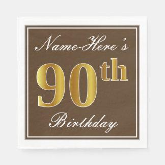Elegant Brown, Faux Gold 90th Birthday + Name Paper Serviettes