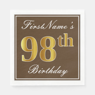 Elegant Brown, Faux Gold 98th Birthday + Name Disposable Napkins