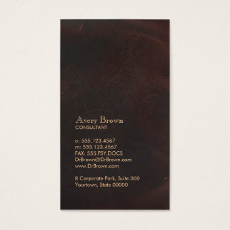 Elegant Brown Leather Look Professional Classic Business Card