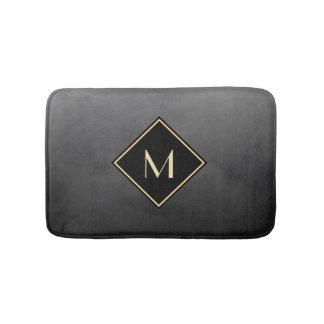 Elegant Brushed Black With Simple Gold Monogram Bath Mat