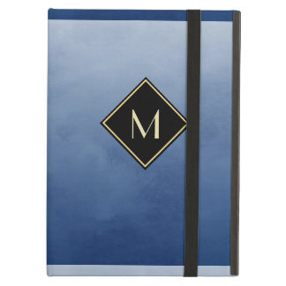 Elegant Brushed Blue With Simple Gold Monogram iPad Air Cover