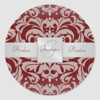 Elegant Burgandy Damask Monogram Wedding Sticker