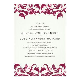 Elegant Burgundy Damask Wedding Invitation