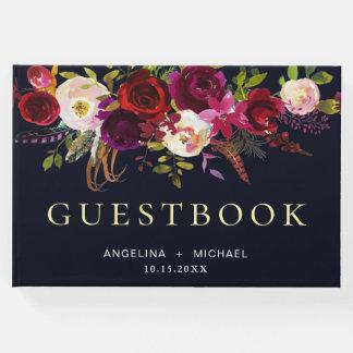 Elegant Burgundy Navy Blue Bohemian Floral Wedding Guest Book