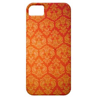 Elegant Burnt Orange Gold Damask iPhone 5 Case
