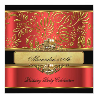 Elegant Burnt Orange Red Gold Damask Pearl Party 13 Cm X 13 Cm Square Invitation Card