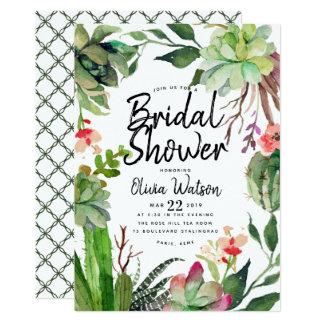 Elegant Cactus Succulent Floral Bridal Shower Card
