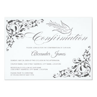 Elegant Calligraphy Cross and Dove Confirmation Card