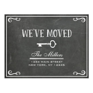 Elegant Chalkboard Key Moving Announcement Postcard