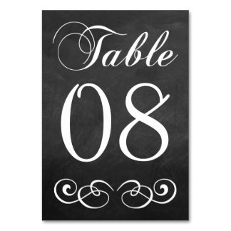 Elegant Chalkboard Wedding Table Number Table Cards